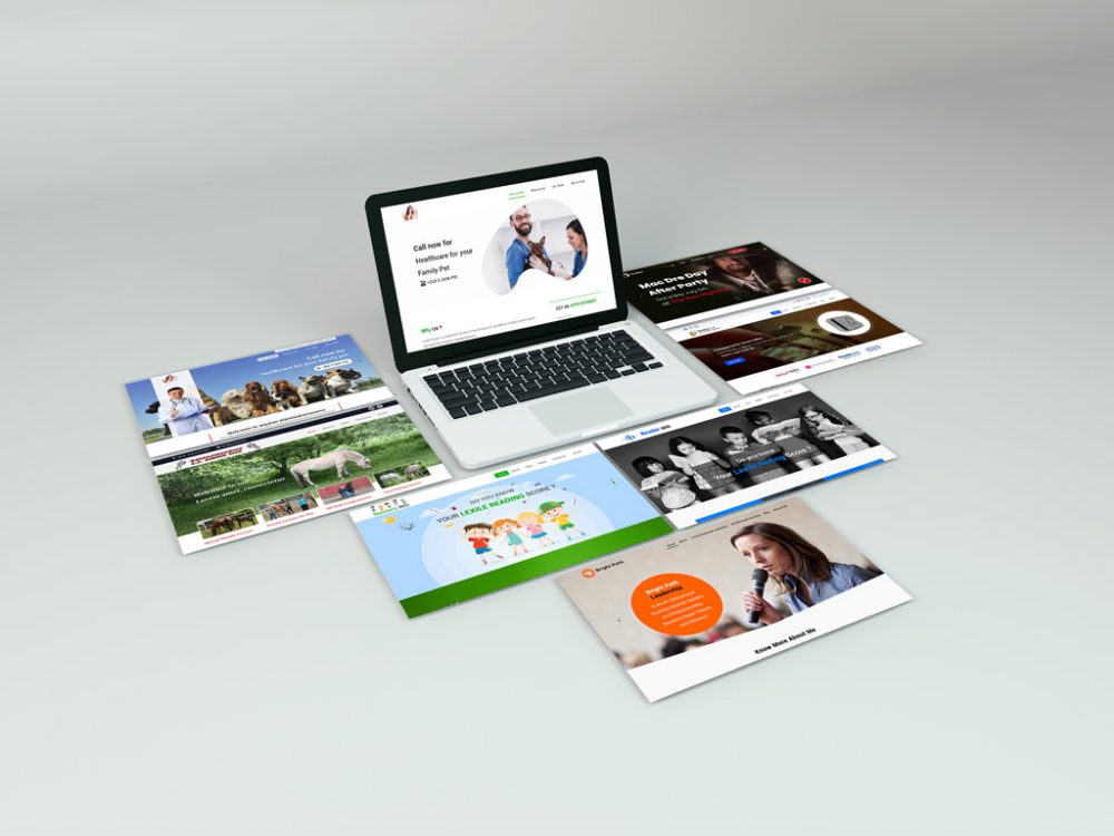MacBook with Websites Showcase Mockup