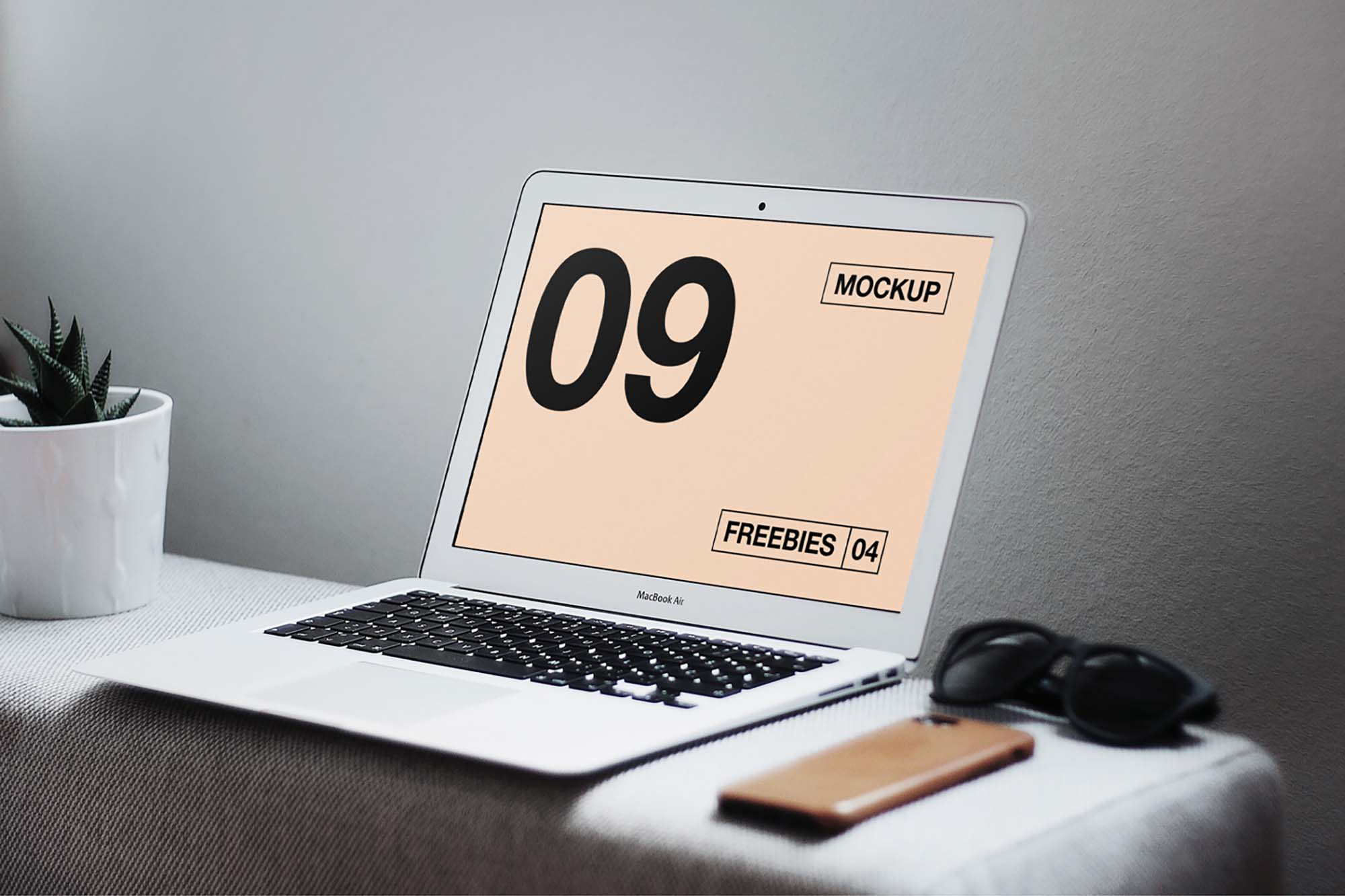 MacBook Air on the Table Mockup