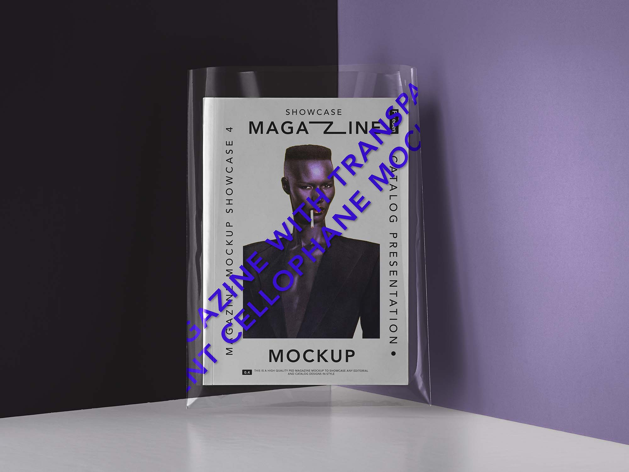 Magazine mockup with clear cover