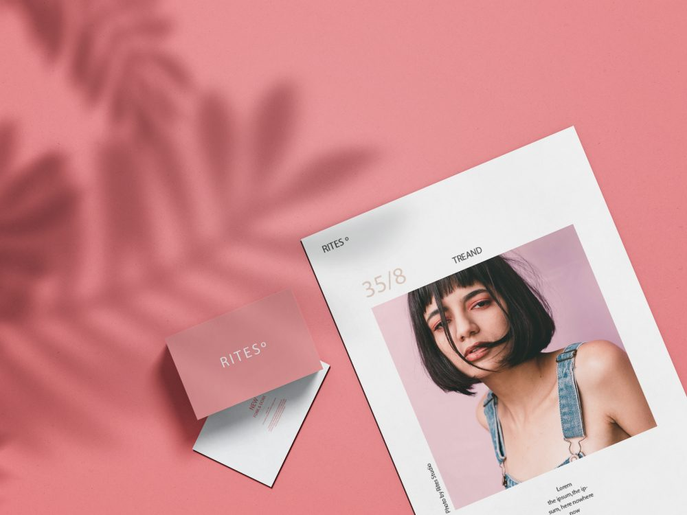 A4 brand paper with business card mockup