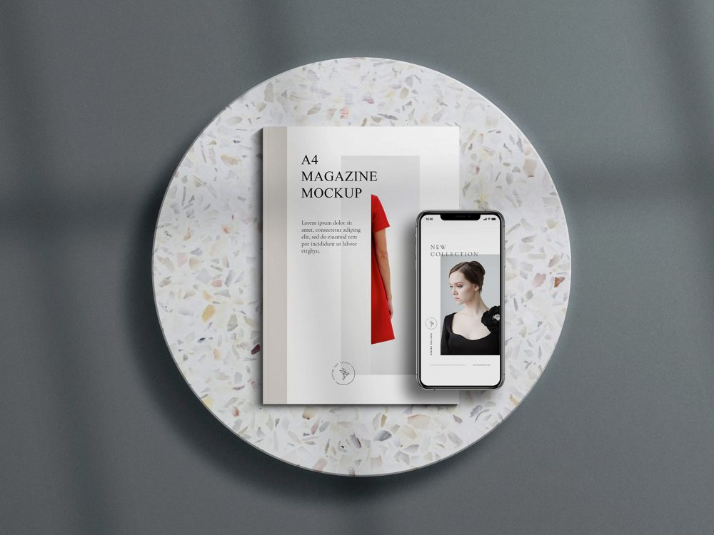 A4 magazine with free mockup scene for iPhone