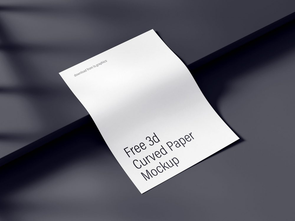 Free mockup of curved A4 paper