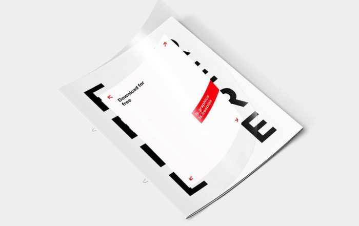 Transparent cover brochure mockup with free letter
