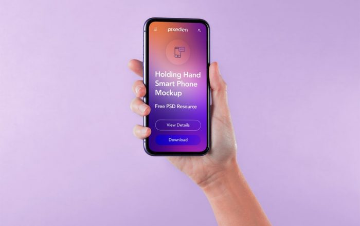 PSD mockup for smartphone with hand