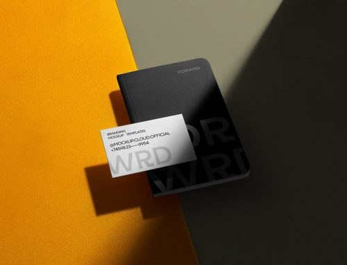 Notebook with Business Card Free Mockup