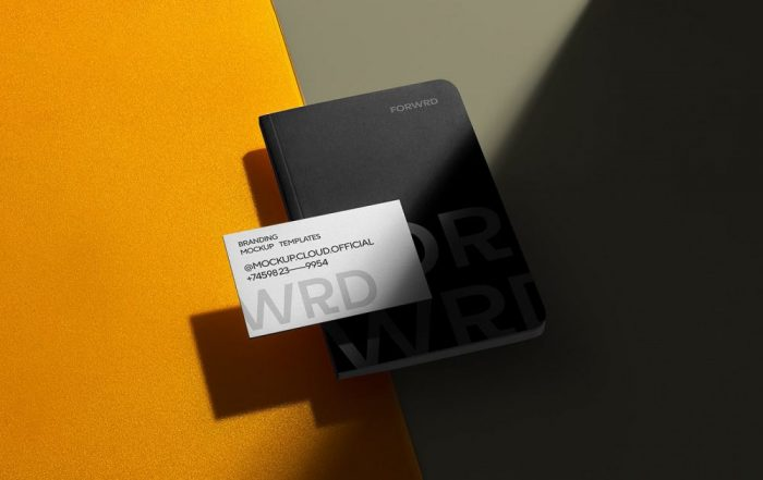 Notebook with free business card mockup