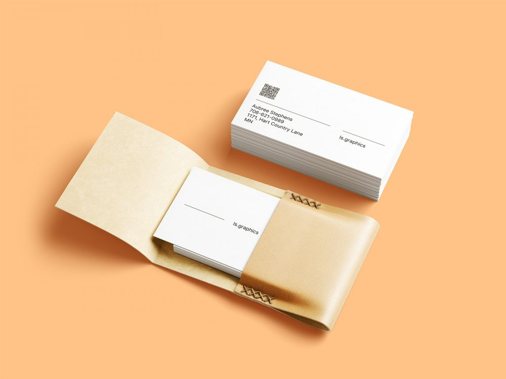 Business cards with leather card holder mockup