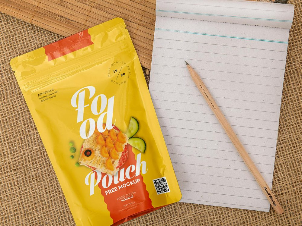 Free Pouch Food Package Mockup